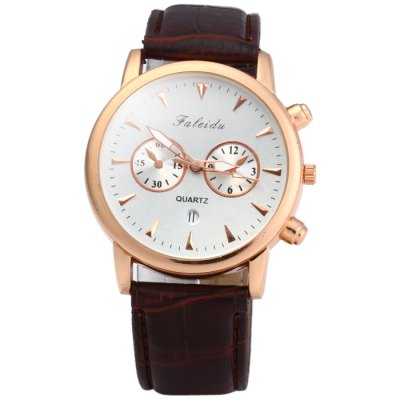 Гаджет   Faleidu 2613 Date Display Male Quartz Watch with Leather Strap Men