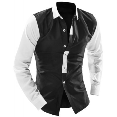 Гаджет   Classic Black White Spliced Personality Button Fly Shirt Collar Long Sleeves Men