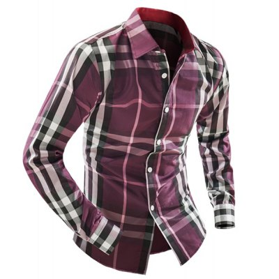 ФОТО Plaid Design Turn-down Collar Long Sleeves Slimming Color Block Men
