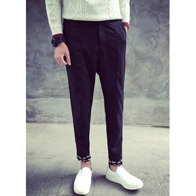 Купить Pants   Slimming Zipper Fly Letter Print Crimping Narrow Feet Men
