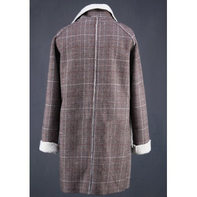 Гаджет   Vogue Turn-down Collar Wool Spliced Patch Pocket Hit Color Plaid Long Sleeves Slimming Men