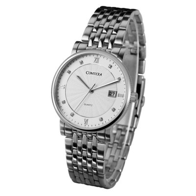 COMTEX S6194G-2 Men Quartz WatchMens Watches<br>COMTEX S6194G-2 Men Quartz Watch<br><br>Brand: COMTEX<br>Watches categories: Male table<br>Watch style: Fashion<br>Available color: Silver, Gold, Blue, Black, Rose Gold<br>Movement type: Quartz watch<br>Shape of the dial: Round<br>Surface material: Sapphire<br>Display type: Analog<br>Watch-head: Screw-plug<br>Case material: Fine steel<br>Band material: Fine steel<br>Clasp type: Folding clasp with safety<br>Special features: Date<br>Water resistance: 30 meters<br>The dial thickness: 0.7 cm / 0.28 inches<br>The dial diameter: 4.0 cm / 1.57 inches<br>The band width: 1.8 cm / 0.71inches<br>Product weight: 0.097 kg<br>Package weight: 0.147 kg<br>Product size (L x W x H): 22.5 x 4 x 0.7 cm / 8.84 x 1.57 x 0.28 inches<br>Package size (L x W x H): 23.5 x 5 x 1.7 cm / 9.24 x 1.97 x 0.67 inches<br>Package contents: 1 x COMTEX S6194G-2 Quartz Watch