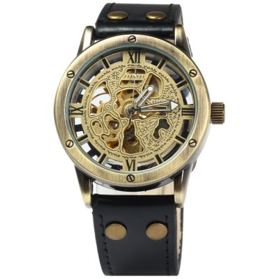 ФОТО Jijia Men Automatic Mechanical Hollow-out Watch with Leather Band