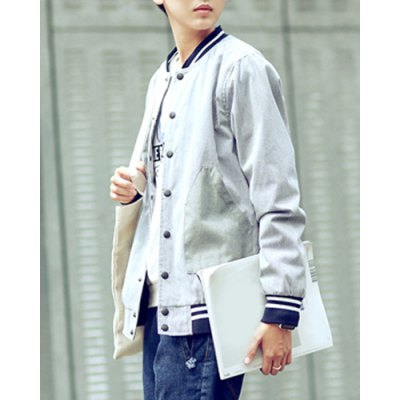 Гаджет   Preppy Style Stand Collar Large Patch Pocket Rib Spliced Hit Color Long Sleeves Men