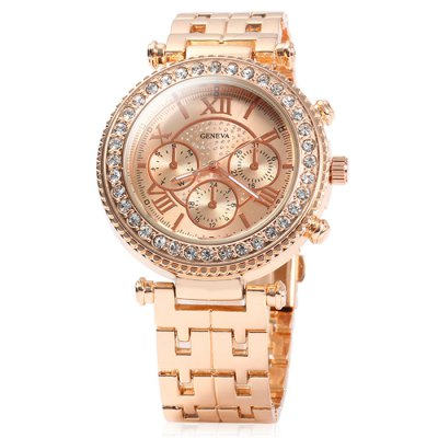Geneva Ladies Quartz WatchWomens Watches<br>Geneva Ladies Quartz Watch<br><br>Brand: Geneva<br>Watches categories: Female table<br>Available color: Rose Gold, Gold, Silver<br>Style : Diamond, Fashion&amp;Casual<br>Movement type: Quartz watch<br>Shape of the dial: Round<br>Display type: Analog<br>Case material: Stainless steel<br>Band material: Stainless steel<br>Clasp type: Folding clasp with safety<br>Special features: Decorating small sub-dials<br>The dial thickness: 1 cm / 0.39 inches<br>The dial diameter: 4.0 cm / 1.57 inches<br>The band width: 2.0 cm / 0.79 inches<br>Product weight: 0.086 kg<br>Package weight: 0.136 kg<br>Product size (L x W x H) : 21 x 4 x 1 cm / 8.25 x 1.57 x 0.39 inches<br>Package size (L x W x H): 22 x 5 x 2 cm / 8.65 x 1.97 x 0.79 inches<br>Package contents: 1 x Geneva Watch