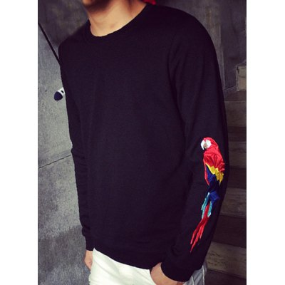 Гаджет   Slimming Round Neck Cartoon Animal Parrot Embroidered Rib Spliced Men