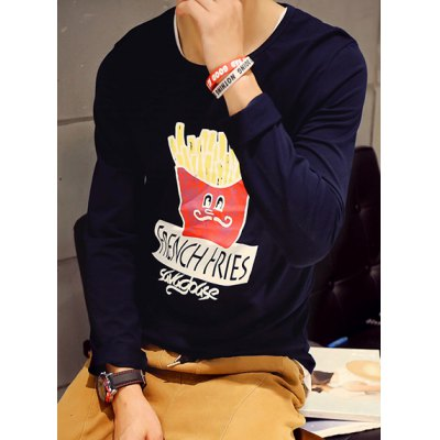 Гаджет   Round Neck Letter and Cartoon Chips Print Long Sleeve Slimming Men