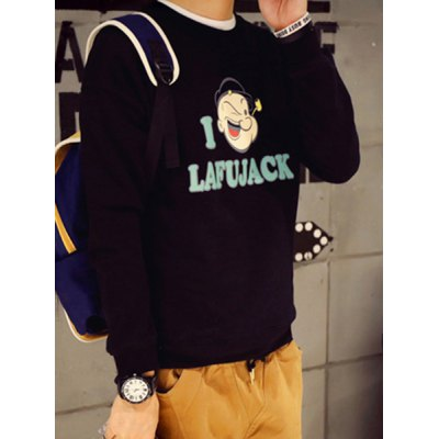 Гаджет   Round Neck Cartoon Popeye and Letter Print Long Sleeve Stripe Drop Shoulder Men