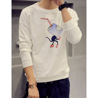 Гаджет   Round Neck Funny Ring-Pull Can Print Long Sleeve Stripe Drop Shoulder Men