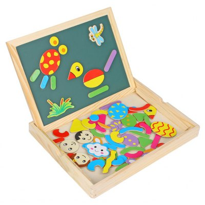 WDB - 01 Wooden Double Face Drawing Board with Magnetic Puzzle 70Pcs