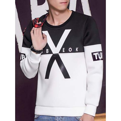 Гаджет   Round Neck Color Block Splicing Letter Print X Pattern Long Sleeve Men