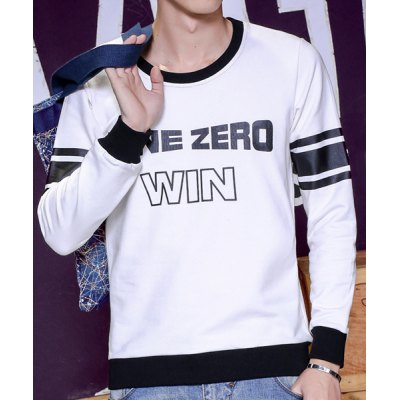 Гаджет   Round Neck Stripe Letter Print Long Sleeve Slimming Men