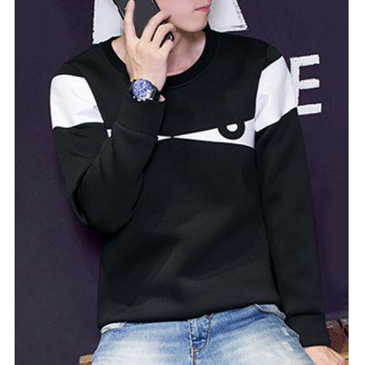 Round Neck Color Block Splicing Eyes Print Long Sleeve Slimming Mens SweatshirtMens Sweaters &amp; Cardigans<br>Round Neck Color Block Splicing Eyes Print Long Sleeve Slimming Mens Sweatshirt<br><br>Material: Cotton, Polyester<br>Clothing Length: Regular<br>Sleeve Length: Full<br>Style: Fashion<br>Weight: 0.470KG<br>Package Contents: 1 x Sweatshirt