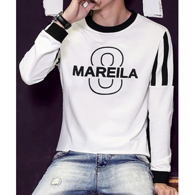 Гаджет   Round Neck Stripe and Letter Print Long Sleeve Slimming Men