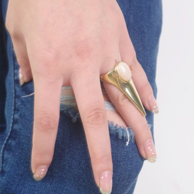 Characteristic Faux Gemstone Pointed Triangle Ring