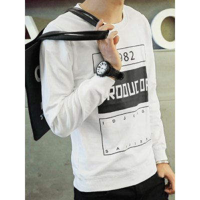 Гаджет   Letter Geometric Print Color Block Round Neck Long Sleeve Slimming Men