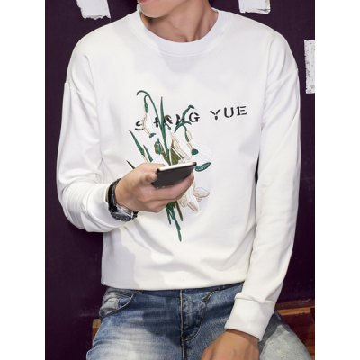 Гаджет   Letter and Flower Embroidered Round Neck Long Sleeve Slimming Men