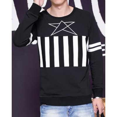 Гаджет   Striped Splicing Star Print Round Neck Long Sleeve Slimming Men