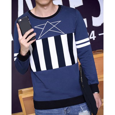 Здесь можно купить   Striped Splicing Star Print Round Neck Long Sleeve Slimming Men
