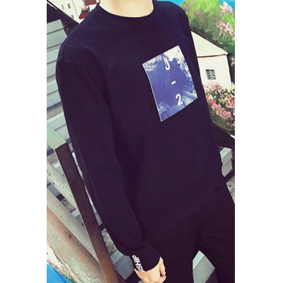 Гаджет   Color Block Applique Letters Braid Spliced Slimming Round Neck Long Sleeves Men