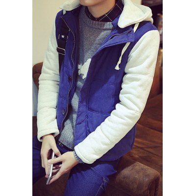 Гаджет   Casual Fitted Drawstring Hooded Color Spliced Button Design Long Sleeves Men