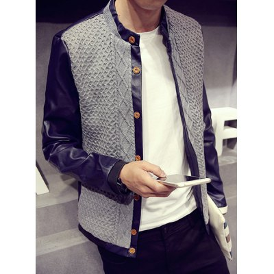 Гаджет   Woolen Yarn Spliced Rhombus Jacquard Multi-Button Hit Color Stand Collar Long Sleeves Men