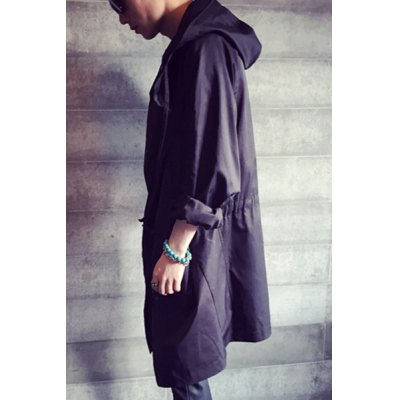 Гаджет   Vogue Hooded Large Pocket Drawstring Waist Fitted Long Sleeves Black Men