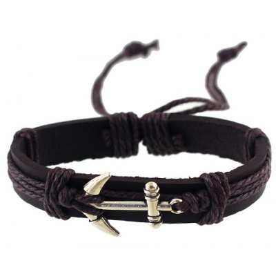 Vintage Faux Leather Anchor Bracelet For Women
