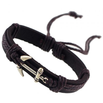 Vintage Faux Leather Anchor Women's Bracelet