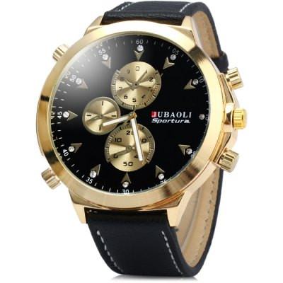 Jubaoli Men Diamond Quartz Watch with Golden Case Leather Band