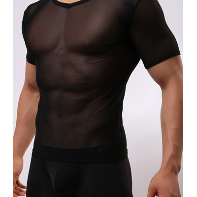 Voile Design Breathable Round Neck Sexy Short Sleeve Perspective Mens T-ShirtMens Underwear &amp; Pajamas<br>Voile Design Breathable Round Neck Sexy Short Sleeve Perspective Mens T-Shirt<br><br>Material: Cotton, Polyester<br>Pattern Type: Solid<br>Weight: 0.132KG<br>Package Contents: 1 x T-Shirt