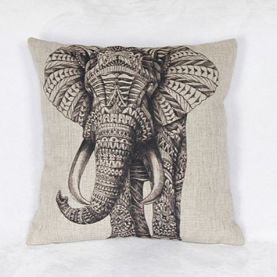 Funny Elephant Pattern Decorative Pillowcase (Without Pillow Inner)