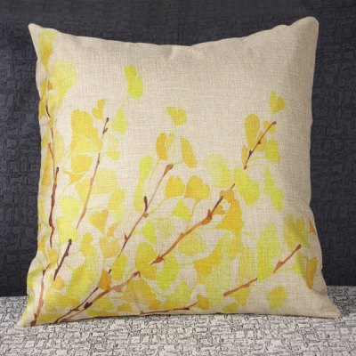 Classical Leaf Pattern Linen Decorative Pillowcase (Without Pillow Inner)