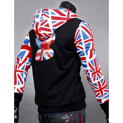 Фотография Union Jack Printed Long Sleeves Spliced Heart Applique Rib Spliced Hooded Long Sleeves Men