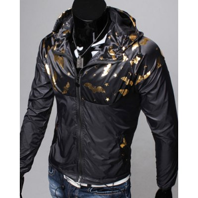 Funny Catoon Bat Print Spliced Elastic Hem Patch Pocket Hooded Long Sleeves Mens Slimming JacketMens Jakets &amp; Coats<br>Funny Catoon Bat Print Spliced Elastic Hem Patch Pocket Hooded Long Sleeves Mens Slimming Jacket<br><br>Clothes Type: Jackets<br>Material: Polyester, Cotton<br>Collar: Hooded<br>Clothing Length: Regular<br>Style: Fashion<br>Weight: 0.290KG<br>Sleeve Length: Long Sleeves<br>Season: Fall, Spring<br>Package Contents: 1 x Jacket