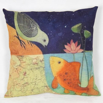 Classical Fish and Bird Pattern Decorative Pillowcase (Without Pillow Inner)
