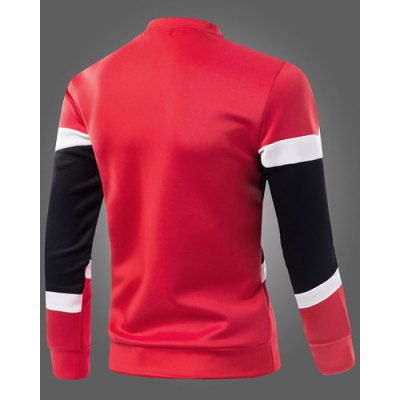 Гаджет   Classic Hit Color Triangle Pattern Spliced Round Neck Long Sleeves Men