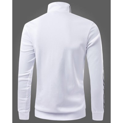 Гаджет   Classic Color Block Striped Braid Spliced Slimming Stand Collar Long Sleeves Men