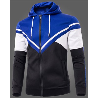 25%OFF Color Block Triangle Spliced Patch Pocket Drawstring Hooded Long Sleeves Men's Slimming Hoodie