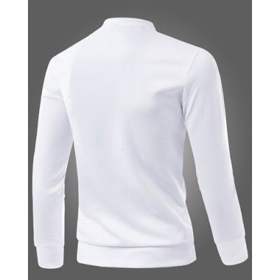 Гаджет   Personality Printed Letters M Spliced Color Block Round Neck Long Sleeves Men