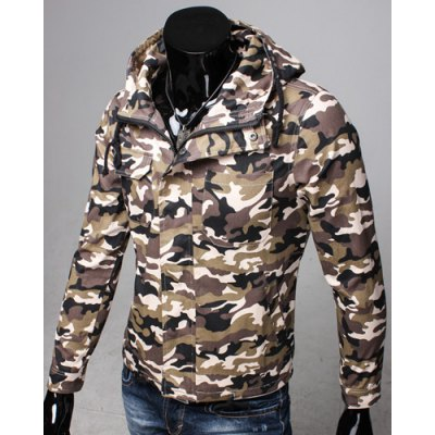 Slimming Hooded Patch Pocket French Front Back Slit Slimming Long Sleeves Mens Camo CoatMens Jakets &amp; Coats<br>Slimming Hooded Patch Pocket French Front Back Slit Slimming Long Sleeves Mens Camo Coat<br><br>Clothes Type: Jackets<br>Material: Cotton Blends<br>Collar: Hooded<br>Clothing Length: Regular<br>Style: Fashion<br>Weight: 0.600KG<br>Sleeve Length: Long Sleeves<br>Season: Winter<br>Package Contents: 1 x Jacket