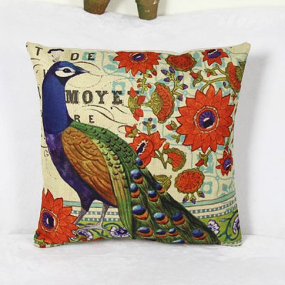 Casual Peacock Pattern Linen Decorative Pillowcase (Without Pillow Inner)