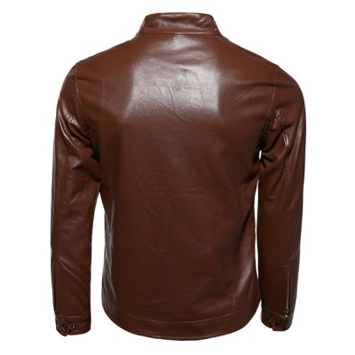 Гаджет   Stylish Stand Collar Zipper Cuffs Solid Color Sutures Design Long Sleeves Men