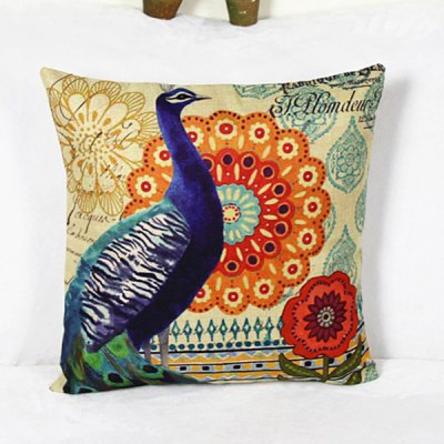 Casual Peacock Pattern Decorative Pillowcase (Without Pillow Inner)