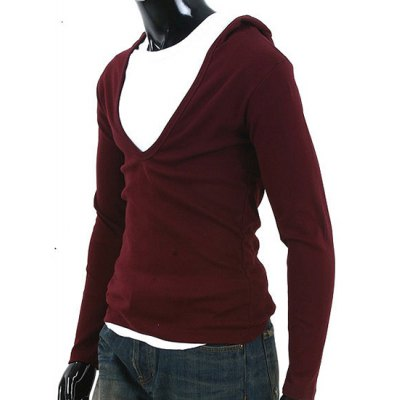 Гаджет   Simple Hooded Chest Hollow Out Solid Color Slimming Men