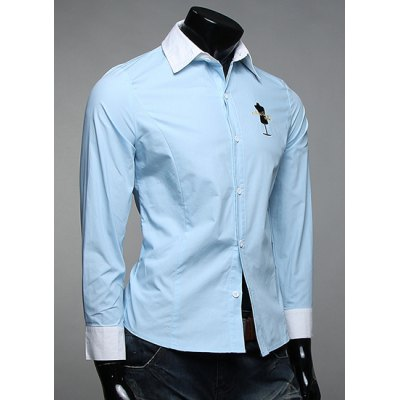 Гаджет   Classic Color Block Spliced Letters Embroidered Slimming Shirt Collar Long Sleeves Men