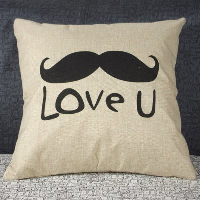 Simple Linen Mustache Pattern Decorative Pillowcase (Without Pillow Inner)