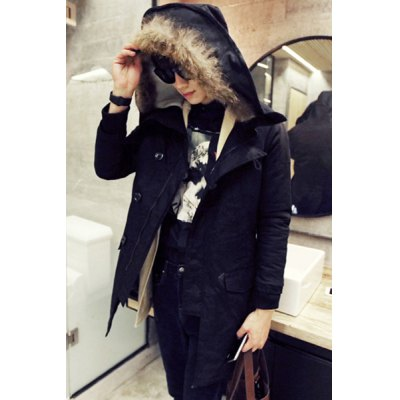 Гаджет   Hooded Villus Faux Fur Single-Breasted Lengthen Long Sleeve Thicken Men