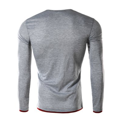 Single-Breasted Color Spliced Slimming Round Neck Long Sleeves Mens Faux Twinset T-ShirtMens Long Sleeves Tees<br>Single-Breasted Color Spliced Slimming Round Neck Long Sleeves Mens Faux Twinset T-Shirt<br><br>Material: Cotton Blends<br>Sleeve Length: Full<br>Collar: Round Neck<br>Style: Fashion<br>Weight: 0.290KG<br>Package Contents: 1 x T-Shirt<br>Embellishment: Button<br>Pattern Type: Solid