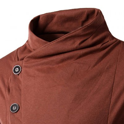 Гаджет   Personality Inclined Button Fly Large Pocket Stand Collar Long Sleeves Men